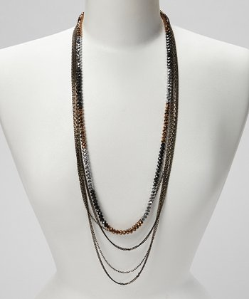 Black & Bronze Bead Layered Necklace