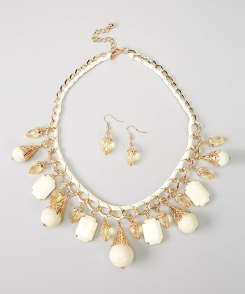 Gold & Ivory Filigree Stone Necklace & Earrings