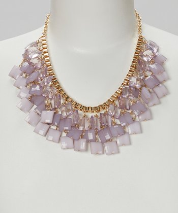 Purple & Gold Ombré Square Bib Necklace