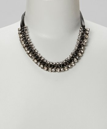 Black Crystal Faux Leather Necklace