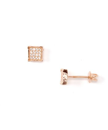 Cubic Zirconia & Rose Gold Square Stud Earrings