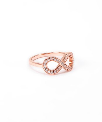 Cubic Zirconia & Rose Gold Infinity Ring