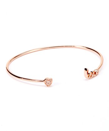 Cubic Zirconia & Rose Gold 'Love' Cuff