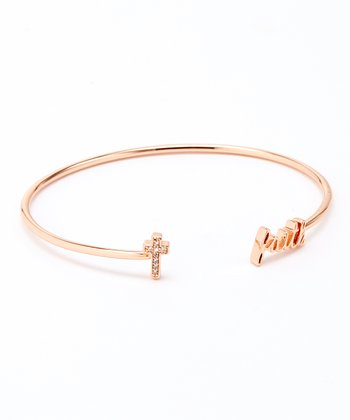Cubic Zirconia & Rose Gold 'Faith' Cross Cuff
