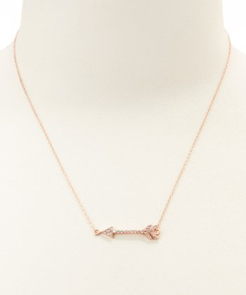 Cubic Zirconia & Rose Gold Arrow Pendant Necklace