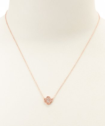 Cubic Zirconia & Rose Gold Clover Pendant Necklace