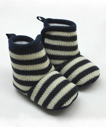 Navy Blue & White Stripe Knit Booties