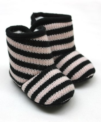 Black & Pink Stripe Knit Booties
