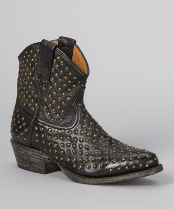 Black & Gold Faithful Studded Cowboy Boot