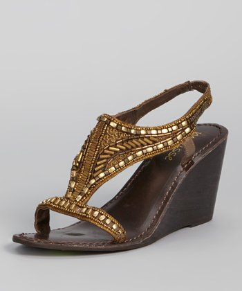 Bronze Beaded Orleans Wedge Sandal