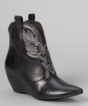 Black Jagger Embroidered Wedge Boot