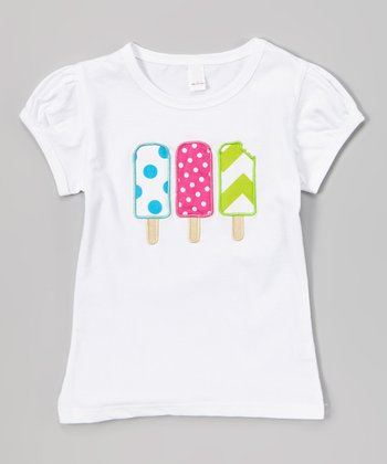White & Pink Popsicle Puff-Sleeve Top - Infant, Toddler & Girls