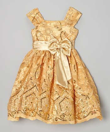 Gold Floral Sequin A-Line Dress - Infant, Toddler & Girls