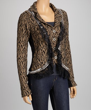 Black & Natural Lace Abstract Blazer