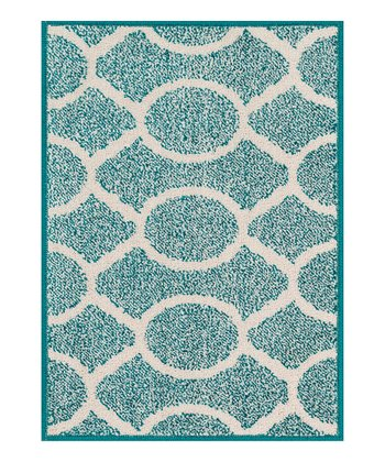 Teal & Ivory Atom Terrace Indoor/Outdoor Rug