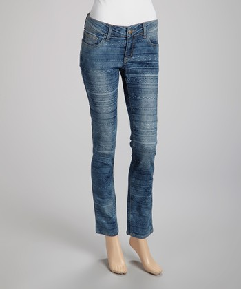 Blue Aztec Stripe Skinny Jeans - Juniors