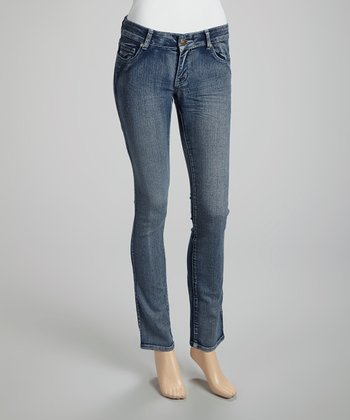 Medium Wash Wrinkle Skinny Jeans - Juniors