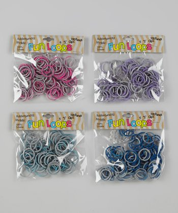 Purple & Gray Tie-Dye Glitter Fun Loop Kit Set