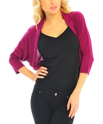 Purple Three-Quarter Sleeve Cropped Dolman Cardigan