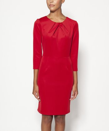 Red Lexington Three-Quarter Sleeve Dress - Women