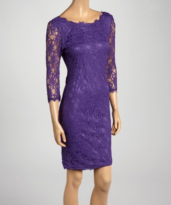 Purple Lace Three-Quarter Sleeve Dress