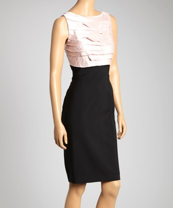 Pink & Black Shutter Pleat Sleeveless Dress - Women