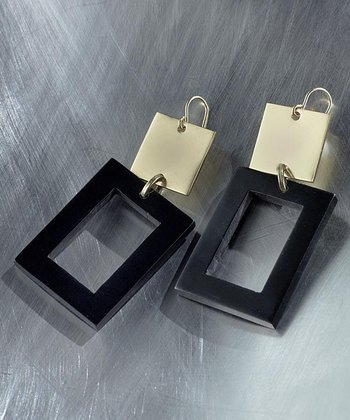 Black & Gold Rectangle Drop Earrings