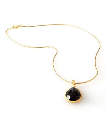 Gold & Black Teardrop Crystal Pendant Necklace
