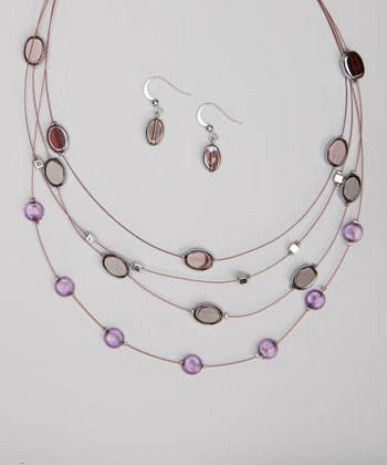 Silver & Purple Stone Illusion Necklace & Earrings