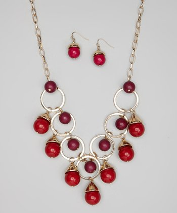 Gold & Red Bead Drop Necklace & Earrings