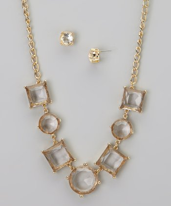 Gold Stone Necklace & Earrings