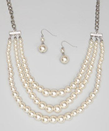 Silver & White Triple-Strand Necklace & Earrings