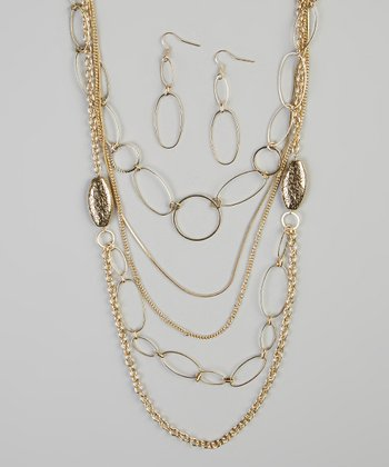 Gold Lorna Chain Necklace & Earrings