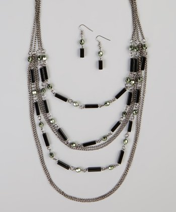 Black & Silver Arden Chain Bead Necklace & Earrings