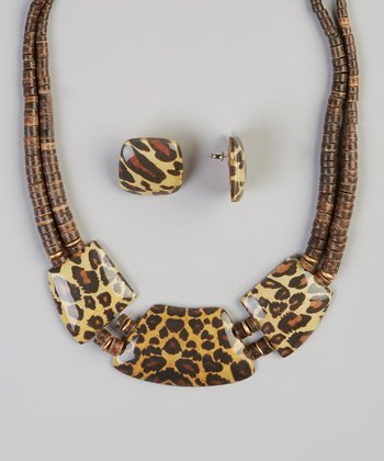 Brown Welcome to the Jungle Necklace & Earrings