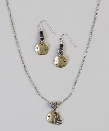 Silver & Gold Dream a Little Dream Angel Necklace & Earrings