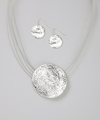 Silver Pebbled Pendant Illusion Necklace & Earrings
