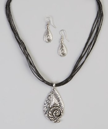 Silver About the Artist Pendant Necklace & Earrings