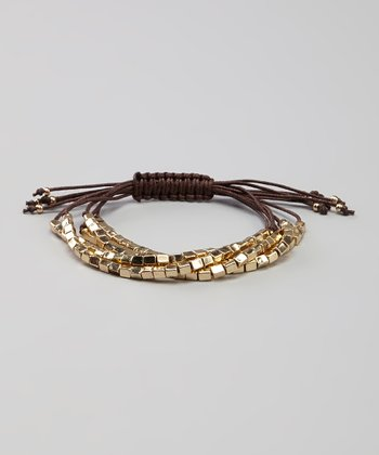 Gold & Brown Square Bead Bracelet
