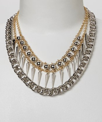 Gold & Silver Spike Chain Necklace