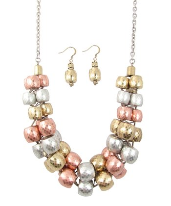 Silver & Gold Be A Dahlia Won't You Necklace & Earrings