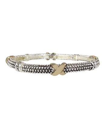 Silver & Gold Kiss on the Dot Strecth Bracelet