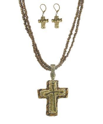 Gold Three Layer Cross Necklace & Earrings