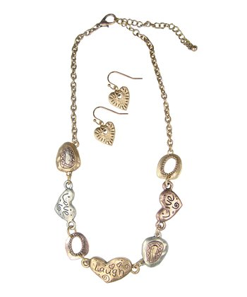 Gold & Silver 'Live Love Laugh' Necklace & Earrings