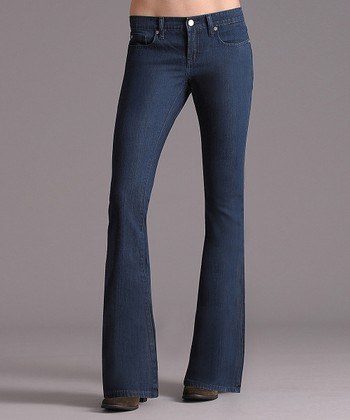Retro Lila Flap Low-Rise Flare Jeans