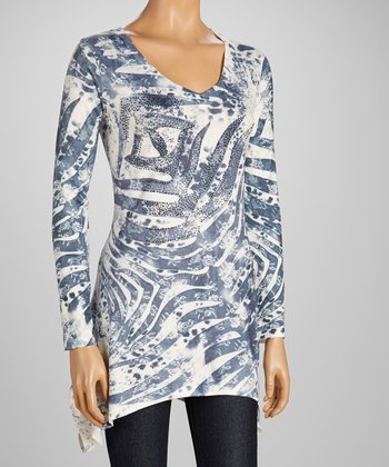 High Secret White Zebra Sidetail Tunic