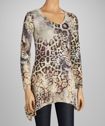 High Secret White Leopard Sidetail Tunic