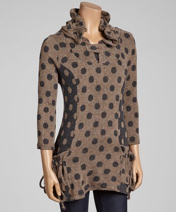 Brown Polka Dot Pocket Tunic - Women