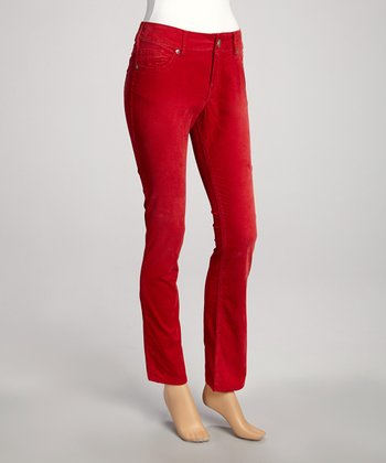 Red Suki Skinny Corduroy Pants