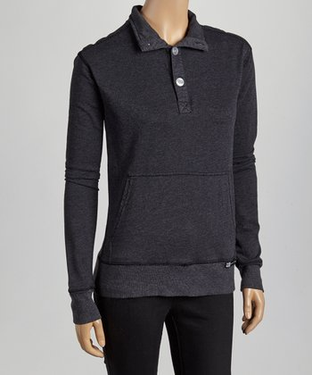Charcoal Three-Button Pullover